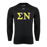 Under Armour Black Long Sleeve Tech Tee-Greek Letters w/ Trim