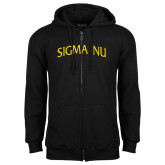Black Fleece Full Zip Hoodie-Arched Sigma Nu