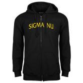 Black Fleece Full Zip Hoodie-Arched Sigma Nu