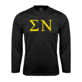 Syntrel Performance Black Longsleeve Shirt-Greek Letters