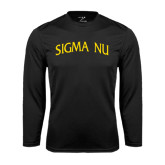 Syntrel Performance Black Longsleeve Shirt-Arched Sigma Nu