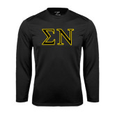 Performance Black Longsleeve Shirt-Greek Letters w/ Trim