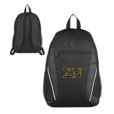 Atlas Black Computer Backpack-Greek Letters w/ Trim