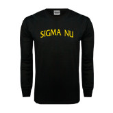 Black Long Sleeve TShirt-Arched Sigma Nu