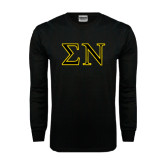 Black Long Sleeve TShirt-Greek Letters w/ Trim