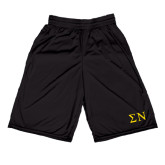 Russell Performance Black 9 Inch Short w/Pockets-Greek Letters