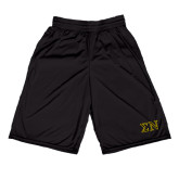 Russell Performance Black 9 Inch Short w/Pockets-Greek Letters w/ Trim