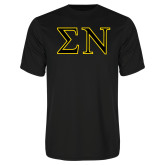 Performance Black Tee-Greek Letters w/ Trim