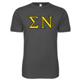 Next Level SoftStyle Charcoal T Shirt-Greek Letters w/ Trim