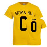 Gold T Shirt-Sigma Nu Custom Tee w/ Name and Number