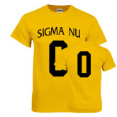 Gold T Shirt-Sigma Nu Custom Tee w/ Number