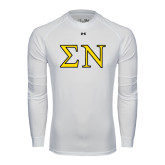 Under Armour White Long Sleeve Tech Tee-Greek Letters w/ Trim