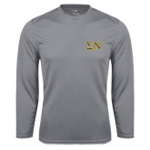 Performance Steel Longsleeve Shirt-Greek Letters w/ Trim
