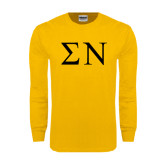 Gold Long Sleeve T Shirt-Greek Letters