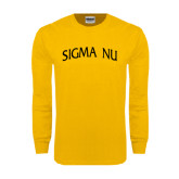 Gold Long Sleeve T Shirt-Arched Sigma Nu
