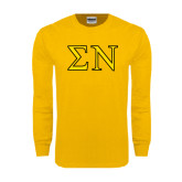 Gold Long Sleeve T Shirt-Greek Letters w/ Trim