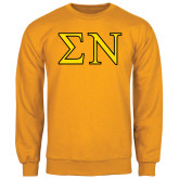 Gold Fleece Crew-Greek Letters w/ Trim