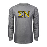 Grey Long Sleeve T Shirt-Greek Letters w/ Trim