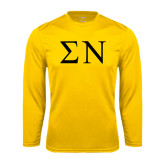 Performance Gold Longsleeve Shirt-Greek Letters