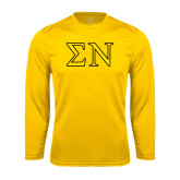 Performance Gold Longsleeve Shirt-Greek Letters w/ Trim