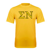 Performance Gold Tee-Greek Letters w/ Trim
