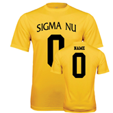 Syntrel Performance Gold Tee-Sigma Nu Custom Tee w/ Name and Number