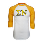 White/Gold Raglan Baseball T-Shirt-Greek Letters w/ Trim