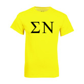 Neon Yellow T Shirt-Greek Letters