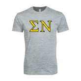 Next Level SoftStyle Heather Grey T Shirt-Greek Letters w/ Trim