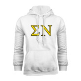 White Fleece Hoodie-Greek Letters w/ Trim