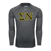 Under Armour Carbon Heather Long Sleeve Tech Tee-Greek Letters w/ Trim