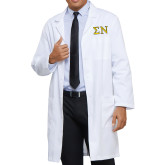 Mens White Lab Coat-Greek Letters w/ Trim