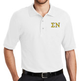 White Easycare Pique Polo-Greek Letters w/ Trim