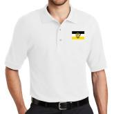 White Easycare Pique Polo-Sigma Nu Flag