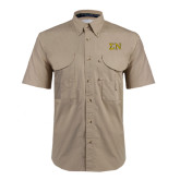 Khaki Short Sleeve Performance Fishing Shirt-Greek Letters w/ Trim