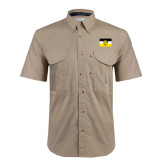 Khaki Short Sleeve Performance Fishing Shirt-Sigma Nu Flag
