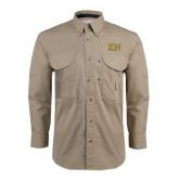 Khaki Long Sleeve Performance Fishing Shirt-Greek Letters w/ Trim