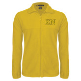 Fleece Full Zip Gold Jacket-Greek Letters w/ Trim