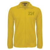 Fleece Full Zip Gold Jacket-Greek Letters w/ Trim