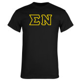 Black T Shirt-Tackle Twill Greek Letters, Tackle Twill