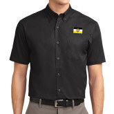Black Twill Button Down Short Sleeve-Sigma Nu Flag