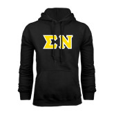 Black Fleece Hoodie-Tackle Twill Greek Letters, Tackle Twill