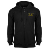 Black Fleece Full Zip Hoodie-Greek Letters w/ Trim