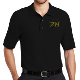 Black Easycare Pique Polo-Greek Letters w/ Trim
