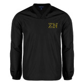 V Neck Black Raglan Windshirt-Greek Letters w/ Trim