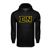 Under Armour Black Performance Sweats Team Hoodie-Tackle Twill Greek Letters, Tackle Twill