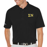 Callaway Opti Dri Black Chev Polo-Greek Letters w/ Trim