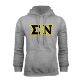 Grey Fleece Hoodie-Tackle Twill Greek Letters, Tackle Twill