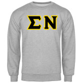 Grey Fleece Crew-Tackle Twill Greek Letters, Tackle Twill