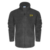 Columbia Full Zip Charcoal Fleece Jacket-Greek Letters